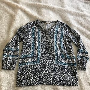 LOFT by Ann Taylor Blue Black Fox Blouse